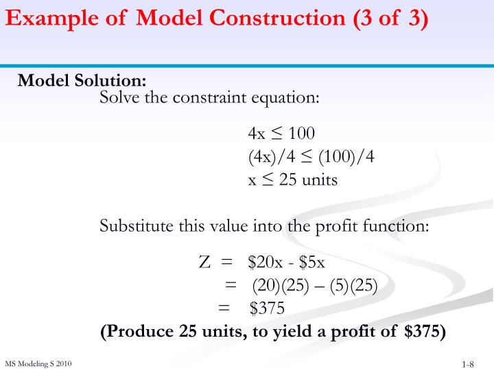 Example of Model Construction (3 of 3)