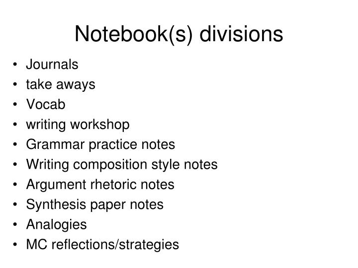 Notebook(s) divisions