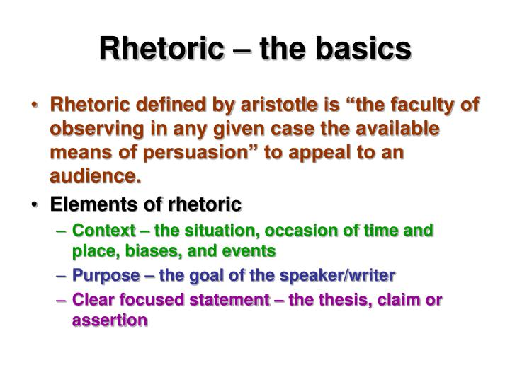 Rhetoric – the basics