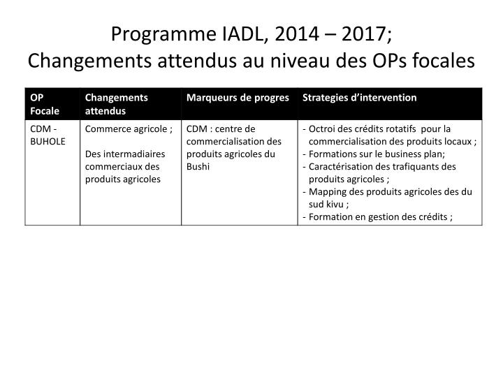 Programme IADL, 2014 – 2017;