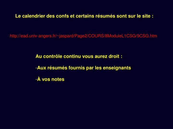 Le calendrier des confs et certains résumés sont sur le site :