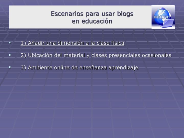 Escenarios para usar blogs