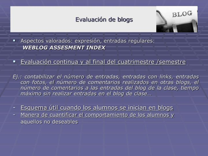 Evaluación de blogs