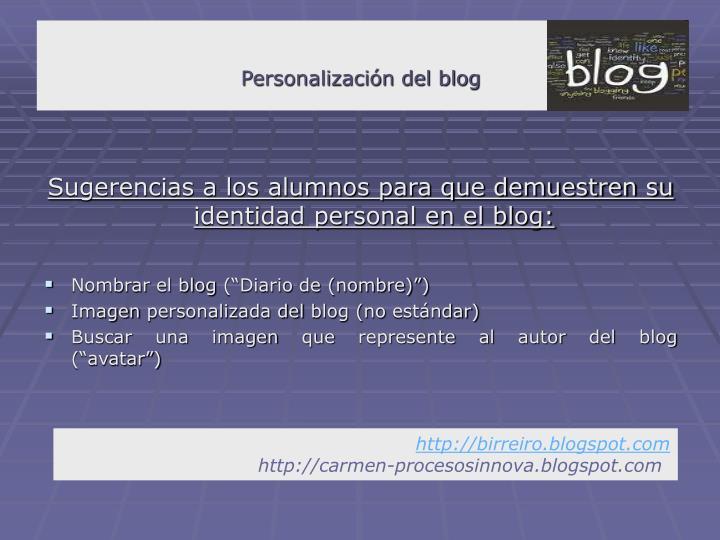 Personalización del blog