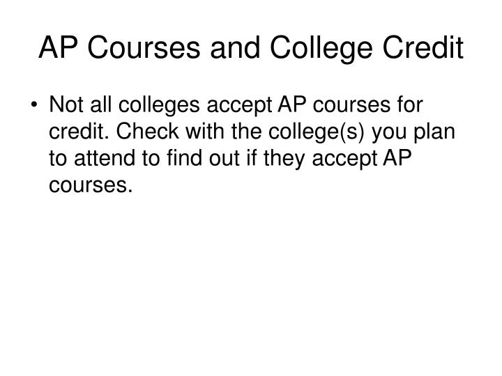 AP Courses and College Credit