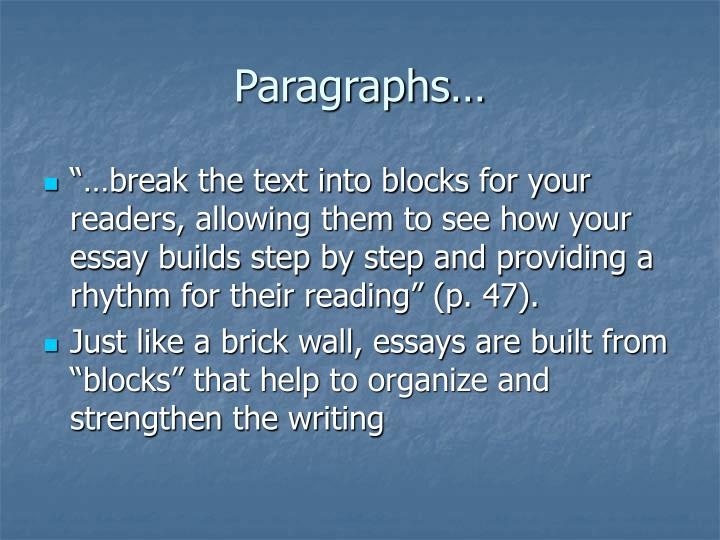 Paragraphs…