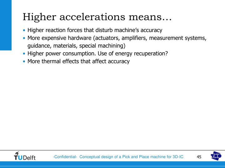 Higher accelerations means…
