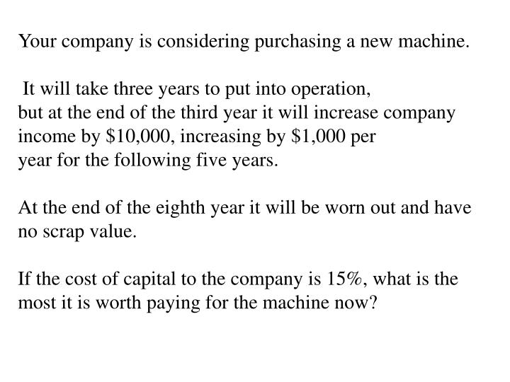 Your company is considering purchasing a new machine.