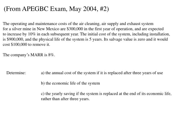 (From APEGBC Exam, May 2004, #2)