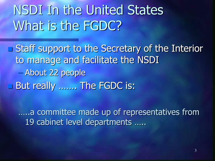 NSDI In the United States