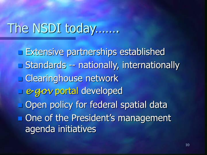 The NSDI today…….