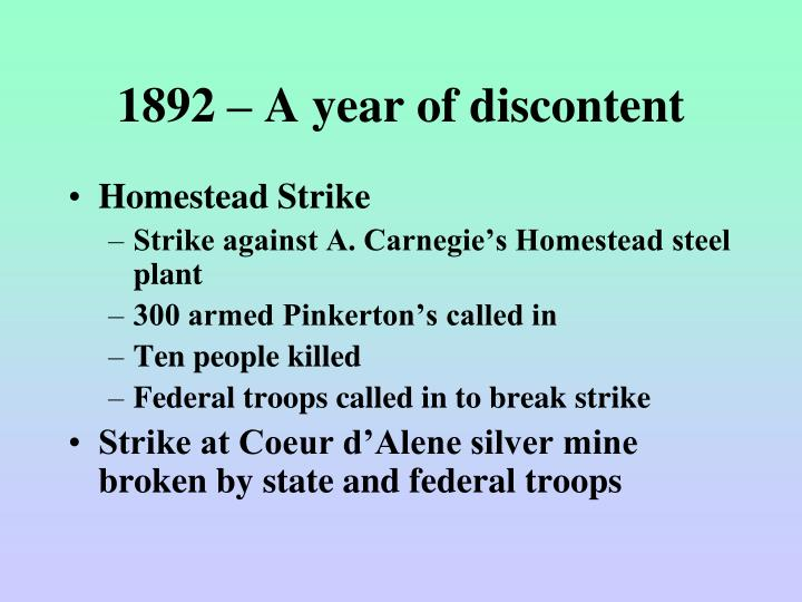 1892 – A year of discontent