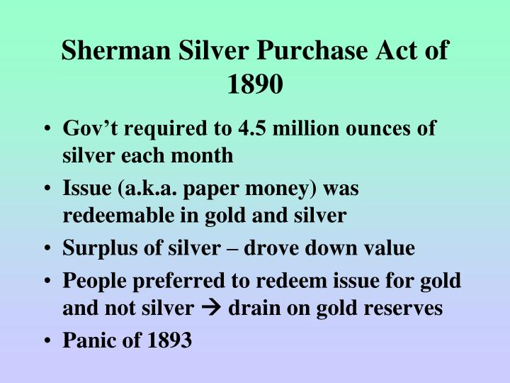 Sherman Silver Purchase Act of 1890