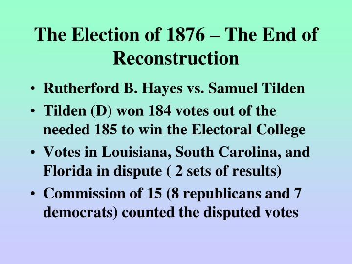 The Election of 1876 – The End of Reconstruction