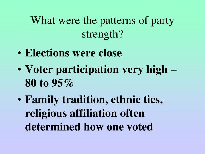 What were the patterns of party strength?