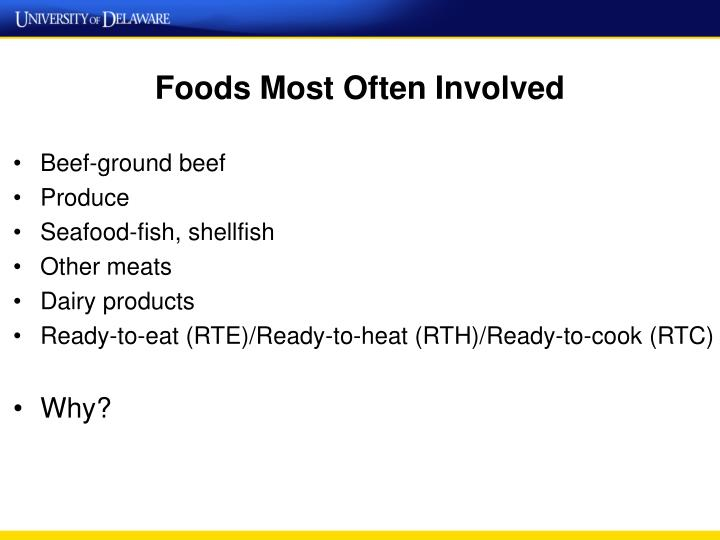 Foods Most Often Involved