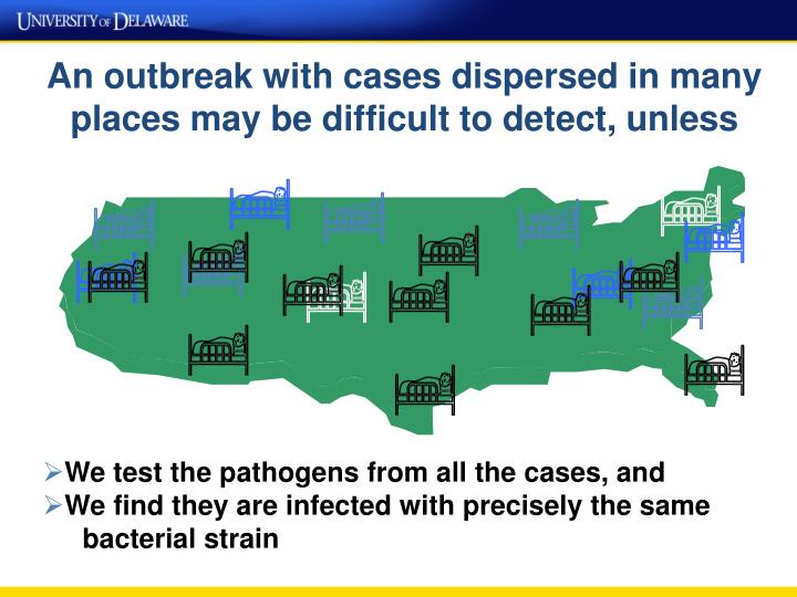 An outbreak with cases dispersed in many places may be difficult to detect, unless