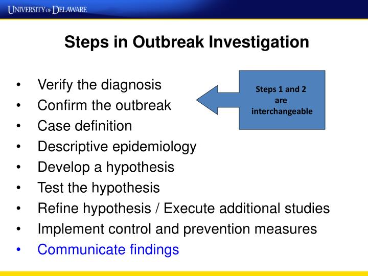 Steps in Outbreak Investigation