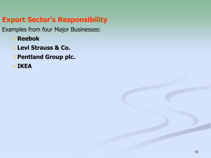 Export Sector's Responsibility
