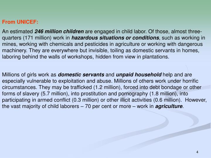 From UNICEF: