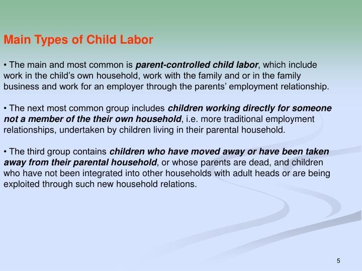 Main Types of Child Labor