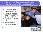 college credit earning opportunities eight categories of recommendations