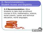 ii recommendations student access and eligibility1
