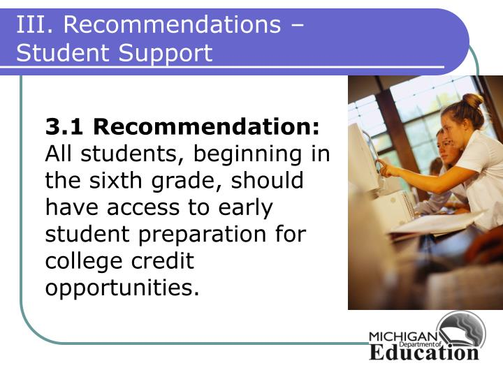 III. Recommendations –