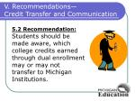 v recommendations credit transfer and communication