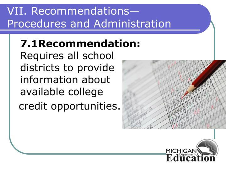 VII. Recommendations—