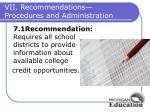vii recommendations procedures and administration