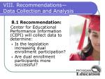 viii recommendations data collection and analysis