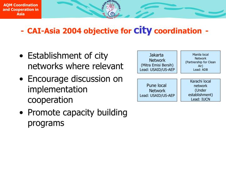 AQM Coordination and Cooperation in  Asia