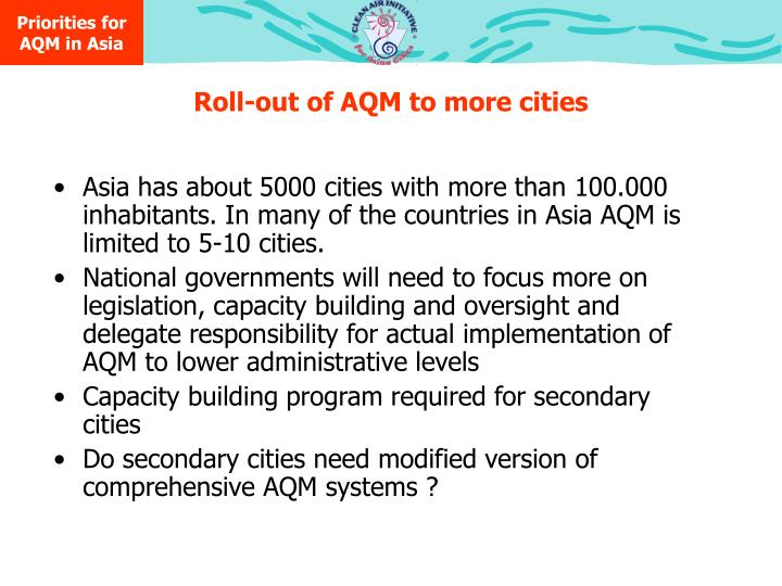 Priorities for AQM in Asia