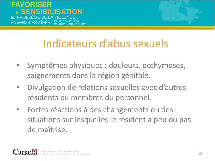 Symptômes physiques: douleurs, ecchymoses, saignements dans la région génitale.