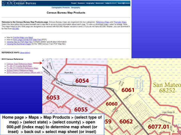Home page > Maps > Map Products > (select type of map) > (select state) > (select county) > open 000.pdf (index map) to determine map sheet (or inset)  > back out > select map sheet (or inset)