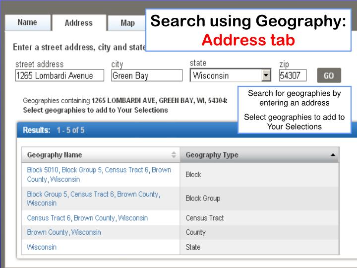 Search using Geography: