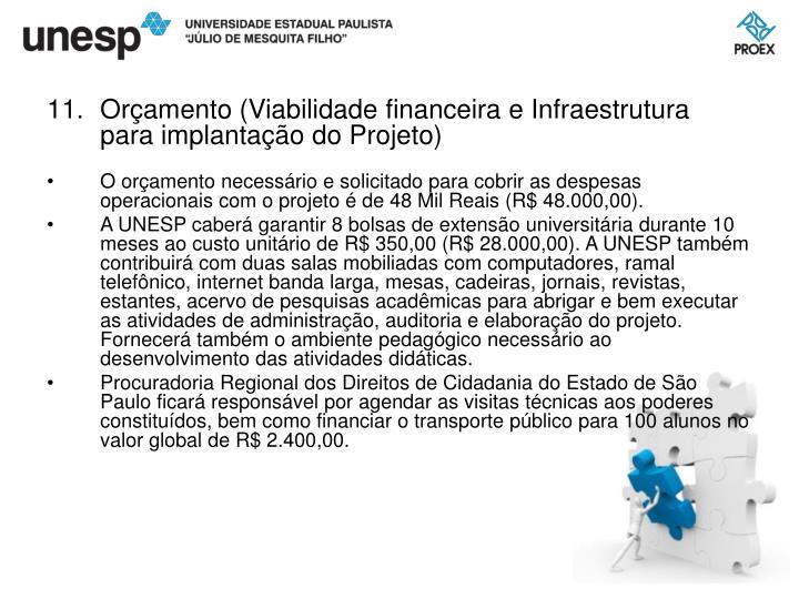Orçamento (Viabilidade financeira e Infraestrutura para implantação do Projeto)