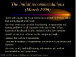 the initial recommendations march 1996