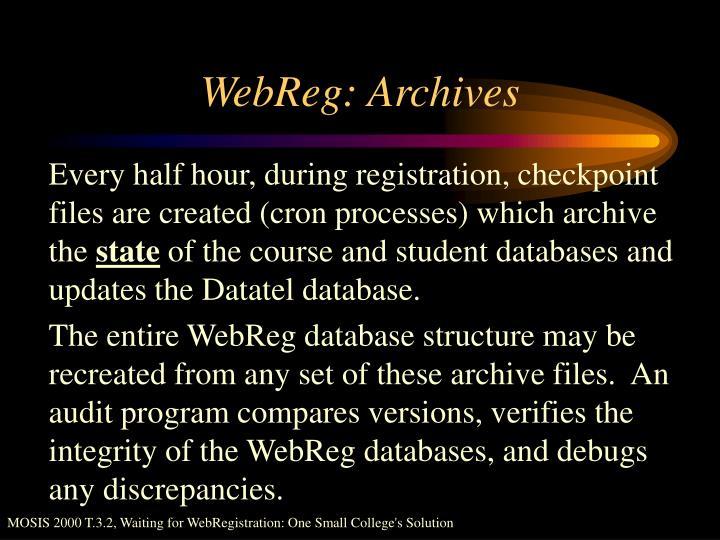 WebReg: Archives