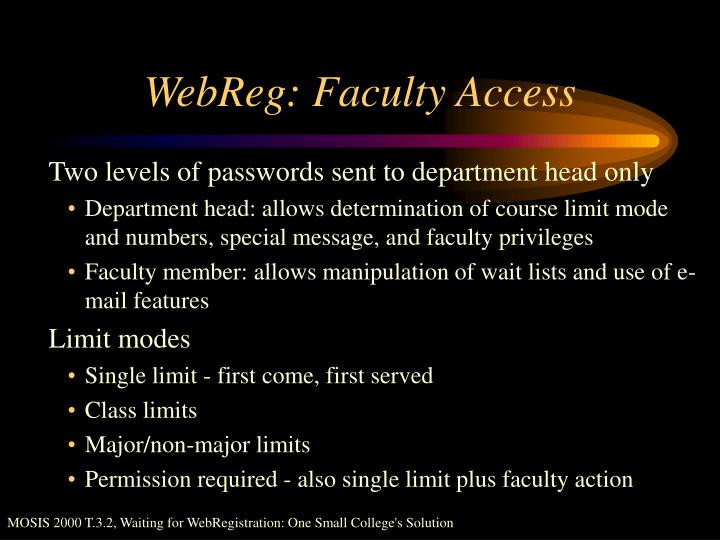 WebReg: Faculty Access