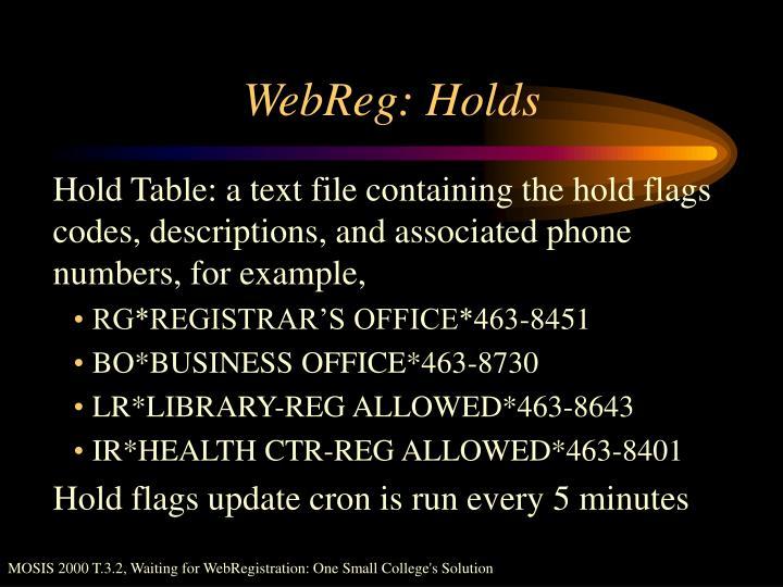 WebReg: Holds