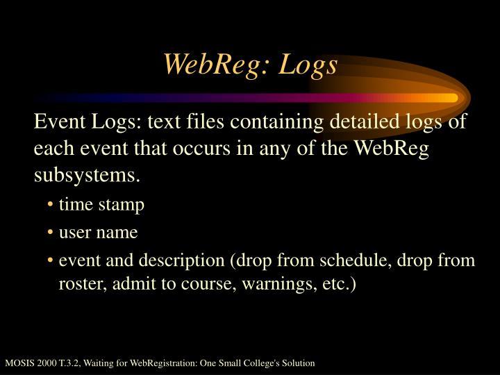 WebReg: Logs