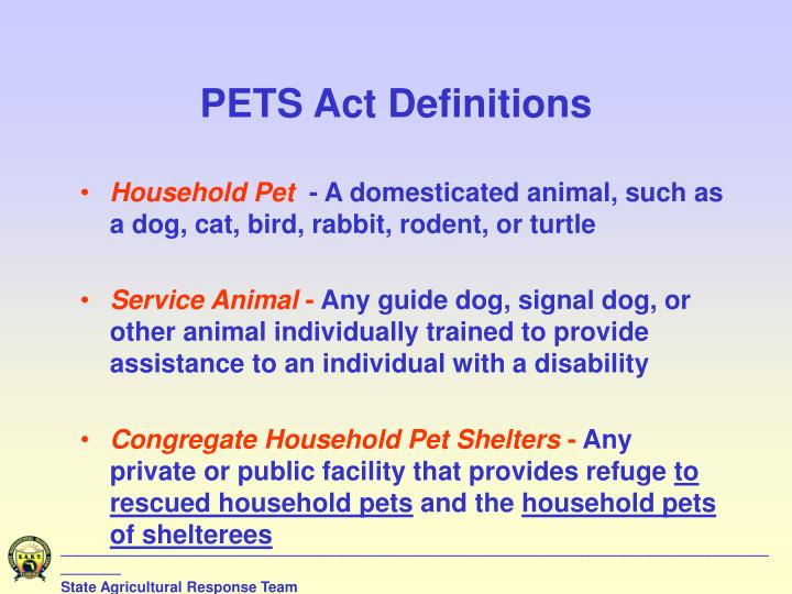 PETS Act Definitions
