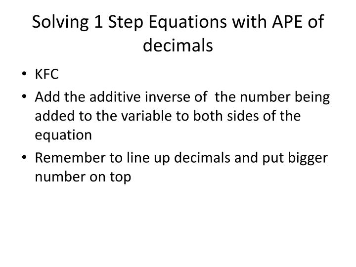 Solving 1 Step Equations with APE of decimals