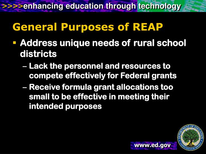 General Purposes of REAP