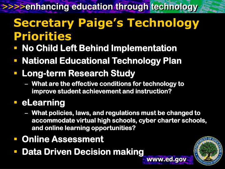 Secretary Paige's Technology Priorities