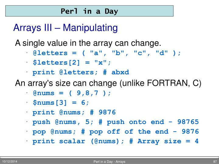 Arrays III – Manipulating