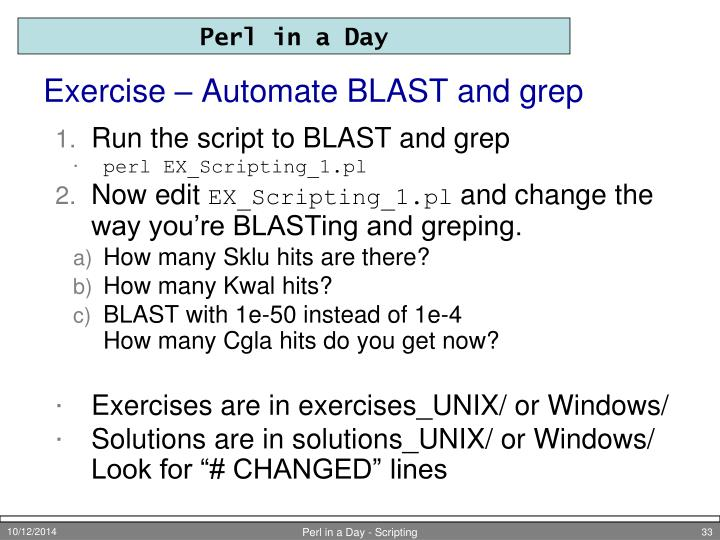 Exercise – Automate BLAST and grep