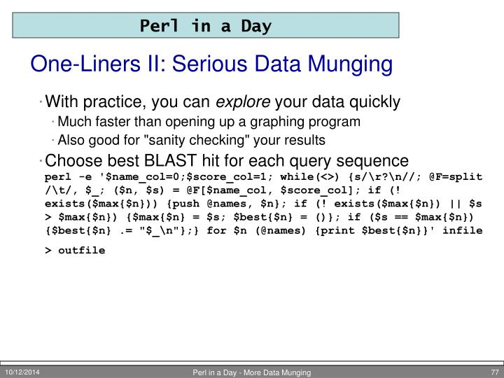 One-Liners II: Serious Data Munging
